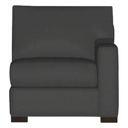 """Axis II Right Arm Sectional Chair - Our most popular seating solution updates in a slightly slimmer profile with more room to stretch out and more options to dress with your own mix of throw pillows. Its simple lines anchor any room—whether classic, modern or a more eclectic mix—and it's a tremendous value for the quality of construction. Snug-fitting slipcovers hug Axis's plush contours, tailor-made with a sleek floor-length skirt and crisp topstitching. It's a tremendous value for the quality of construction: benchmade frame is kiln-dried hardwood, and soft down-blend seat cushions have an indulgent wrap in downproof ticking to give it that extra """"ahh"""" factor when you sit down. Axis sofa group also available."""