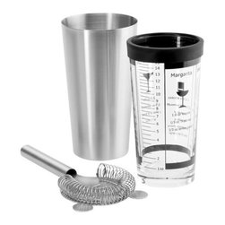 Blomus - LOUNGE Boston Shaker Set by Blomus - The Blomus LOUNGE Boston Shaker Set is a classic Boston set with the addition of a strainer. Common recipes (like how to mix a margarita), along with gradated measurements, can be found on the clear mixing glass, which is also rimmed with a protective rubber edge to avoid chipping. Blomus, headquartered in Germany, specializes in the design and manufacture of beautifully engineered home and office accessories in modern stainless steel styles.