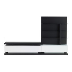 Zuri Furniture - Wynton Espresso TV Stand for 55 inch TV - The Wynton ultra contemporary TV unit is a stunning addition for your well-designed media or living room with its dark espresso wood grain and high gloss white lacquer finish. This piece is sleek, yet provides two large drawers and 3-tier shelving and will accommodate any TV of up to 55 inches.