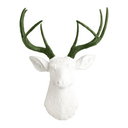 White Faux Taxidermy - The Aileen - White Faux Resin Deer w/Forest Green Antlers - Measurements: