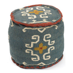 Go Home - Go Home Round Tribal Kilim Pouf - Make an amazing addition to your home decor with this Round Tribal Kilim Pouf. It features a round shaped comfortable sitting built of kilim material with tribal design to give it a traditional look.