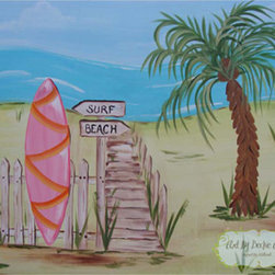 """Pink Island Surf """"Surf Board"""" - Decorate your little surfer's room with this art.  This art would look great in a surfer/beach/tropical theme bed room or bath."""