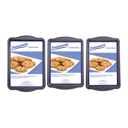 None - Entenmann's Cookie Sheet Set - This Entenmann's Cookie Sheet Set features three cookie sheets that are made of non-stick heavy gauge carbonized steel. This Entenmann's bakeware heats evenly to produce the perfect results every time.