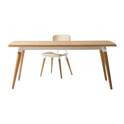 Jin Dining Table, White Oak Veneer with White Base