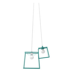"""Iacoli & McAllister - 2-Piece Frame Cluster Light Fixture, Aqua - Call it the """"anti-chandelier."""" A pair of lights (one medium and one small) are combined in a single, striking fixture. Hard-wired installation keeps this modern duo working as one. Ideal for the dining room, entry, stairwell — or anyplace that cries out for a creative lighting solution."""