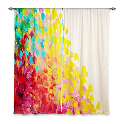 """DiaNoche Designs - Window Curtains Lined by Julia Di Sano Creation in Color - DiaNoche Designs works with artists from around the world to print their stunning works to many unique home decor items.  Purchasing window curtains just got easier and better! Create a designer look to any of your living spaces with our decorative and unique """"Lined Window Curtains."""" Perfect for the living room, dining room or bedroom, these artistic curtains are an easy and inexpensive way to add color and style when decorating your home.  This is a woven poly material that filters outside light and creates a privacy barrier.  Each package includes two easy-to-hang, 3 inch diameter pole-pocket curtain panels.  The width listed is the total measurement of the two panels.  Curtain rod sold separately. Easy care, machine wash cold, tumble dry low, iron low if needed.  Printed in the USA."""