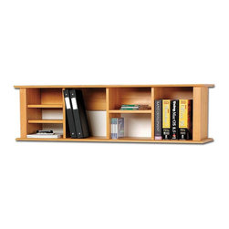 Prepac - Entryway Wall Mounted Book Shelf in Maple - Unique design. Four adjustable shelves. Two-piece hanging rail system. Warranty: Five years. Made from CARB-compliant, laminated composite woods. Made in North America. Assembly required. Internal: 9.75 in. W x 9.75 in. D x 12.25 in. H. Overall: 48 in. W x 11.5 in. D x 13 in. HAdd storage space right where you need it with the Wall Mounted Desk Hutch. This hutch has ample space for workspace necessities that just don't fit in your desk. Accommodate books, binders, disks or even decorative items. This piece is a simple way to double your desk's storage without taking up valuable floor space.
