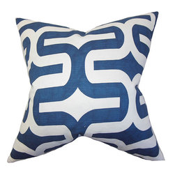 The Pillow Collection - Jaslene Blue 18 x 18 Geometric Throw Pillow - - Pillows have hidden zippers for easy removal and cleaning  - Reversible pillow with same fabric on both sides  - Comes standard with a 5/95 feather blend pillow insert  - All four sides have a clean knife-edge finish  - Pillow insert is 19 x 19 to ensure a tight and generous fit  - Cover and insert made in the USA  - Spot clean and Dry cleaning recommended  - Fill Material: 5/95 down feather blend The Pillow Collection - P18-PP-EMBRACE-NAVY