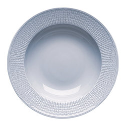 "iittala Swedish Grace Rim Soup/Pasta Bowl 10"" Ice - A design classic in six colours. This tableware still evokes the same emotions as when it was unveiled at the Stockholm Exhibition in 1930. Louise Adelborg succeeded in conveying the sensation of ears of wheat swaying in the summer breeze."
