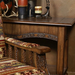 "Pine Creek Sofa Table - The Pine Creek Sofa Table has ornate trim on dark brown wood and a low shelf. Measures 50"" x 18"" x 30"". ~ Allow 6-8 weeks for delivery."