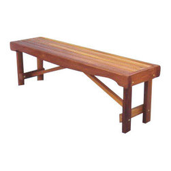 Backless Garden Bench Seat: 5 Foot - Simplicity can be beautiful, as this Backless Bench Seat shows.  5 Foot all-natural Western Red Cedar can be used as a picnic bench seat, patio, pool, deck or place for the towels.  Perfect for a spa, hot tub or sauna room.  Provides cool comfort in the hot sun.  Park it next to a pretty pond, waterfall in the garden, or among a rock and flower garden for two-sided viewing. Western Red Cedar wood is stupendously weather-resistant!   Natural finish may need light sanding. (Shown with an oil stain applied for display purpose.) 90% Pre-Assembled.