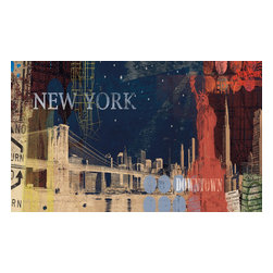York Wallcoverings - New York Streets Giant Prepasted Wallpaper Accent Mural - Features: