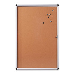 Lorell - Lorell Enclosed Cork Bulletin Board - 36 Height x 24 Width - Natural Cork Surfac - Enclosed bulletin board lets you clearly display information tacked to the natural cork and protect it with a polystyrene cover on the locking swing door. Durable, resilient cork is self-healing so it doesn't show pinholes. The indoor design includes an aluminum frame and blends nicely with any decor. Bulletin board comes with two keys.