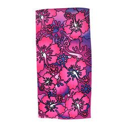 Zeckos - Pink / Purple Hibiscus Flowers Reactive Beach Towel 60 Inches x 30 Inches - This beautiful hot pink, purple and white fiber reactive velour beach towel has a Hibiscus flower print. The towel measures 60 inches long, 30 inches wide, with sewn edges to prevent fraying. It adds a wonderful tropical look to your beach trip.