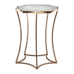 Kathy Kuo Home - Astre Antique Gold Leaf Star Shaped Mirrored Side End Table - With a star-shaped base, the Astre Side Table is sure to attract attention. The Gold Leaf finish on the base is the perfect accent to the antiqued mirror top it carries. Antiqued mirrors vary greatly in finish, so expect to see variations in color and watermarks.