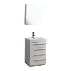 Virtu USA - 24in. Bailey Single Sink Bathroom Vanity - Gloss White - Designed with a smaller bathroom in mind, this vanity is by no means short of excellence. With a gorgeous finish and a high-gloss polymarble basin, this vanity combines both the element of design, with practicality. Featuring four large drawers on soft closing slides, the Bailey will be sure to hold all of your bathroom essentials while looking magnificent at the same time.