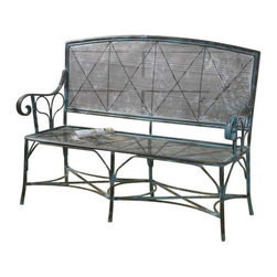 """Uttermost Generosa Forged Iron Bench - Sturdy, forged iron bench in turquoise crackle with oxidized black undertones. Sturdy, forged iron bench in turquoise crackle with oxidized black undertones. Seat height is 17""""."""