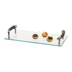 Bark Handle Serving Tray - Serve fruits and drinks to the guests with bowls, glasses and plates kept on this Bark Handle Serving Tray. It features a glass make top adorned with a sturdy wooden handle. Part of our elite French country chic collection, it makes an excellent decorative accessory too.