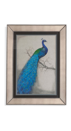Bassett Mirror - Bassett Mirror Framed Under Glass Art, Peacock Blue I - Peacock Blue I