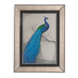 Bassett Mirror - Bassett Mirror Framed Under Glass Art, Peacock Blue I - Peacock Blue I