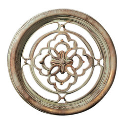 "Factory Direct Wall Decor - Small Round Grille - The Small Round grille is a round grille with a cross in the center. The dimensions of the total piece are 22""W x 22""H x 2"" in Depth, and approximately weighs 7.5 lbs."