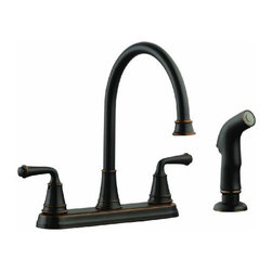 DHI-Corp - Eden Kitchen Faucet with Sprayer, Oil Rubbed Bronze - The Design House 524736 Eden Kitchen Faucet with Sprayer features a dual handle design with a 48-inch soft hose pullout orb side sprayer which eliminates baked on residue and rinses dishes and silverware clean of food and grime in hard to reach areas. Finished in oil rubbed bronze, this faucet set is refined and elegant with a ceramic disc cartridge, brass waterways and a removable escutcheon base plate. The brass waterways contain zinc and copper which are known to prevent antimicrobial growth ensuring safe and clean water for your family. This faucet has a rustic shabby chic design, meshing modern construction with vintage aesthetics contributing to the comfort and style of any kitchen. The 2-gallon per minute flow rate ensures a steady water flow after years of everyday use and is UPC, ADA, lead-free and cUPc compliant. Wash dishes or fill pitchers with ease underneath this high vaulted faucet. This product adheres to industry leading practices and standards. The Design House 524736 Eden Kitchen Faucet with Sprayer comes with a lifetime limited warranty that protects against defects in materials and workmanship. Design House offers products in multiple home decor categories including lighting, ceiling fans, hardware and plumbing products. With years of hands-on experience, Design House understands every aspect of the home decor industry, and devotes itself to providing quality products across the home decor spectrum. Providing value to their customers, Design House uses industry leading merchandising solutions and innovative programs. Design House is committed to providing high quality products for your home improvement projects.