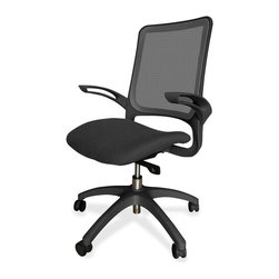 Lorell - Lorell Vortex Self-Adjusting Weight-Activated Task Chair, Black - Durable task chair features a self-adjusting weight-activated, synchrony-tilt mechanism that conforms to your body weight and allows the backrest and seat to tilt in unison. Design also includes a breathable mesh back and cushioned, waterfall seat upholstered in black fabric to enhance your comfort during work or play. Functions also include 360-degree swivel, pneumatic seat-height adjustment from 18-1/2 to 21-21/32 and tilt lock. Black nylon, five-star base is equipped with smooth-rolling casters for easy mobility. Weight capacity is 250 lb. Seat measures 19-3/10 wide x 18-1/2 deep. Back size is 17-3/10 wide x 20-9/10 high.