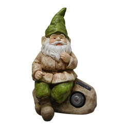 Alpine - Set of 2 Gnome Statues with Solar Rock - Add color, spice and life to your outdoors with these fiberglass gnome statuaries. Each has its own playful personality and is sure to bring a fanciful feel to any yard, garden or deck. These sturdy statuaries boast earth hues of green and beige.Features: