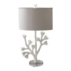 Tulip Tree Lamp - This lovely lamp is a whimsical sculpture. My favorite part is the finial, which makes it look like it's a painted plant that happens to have a lampshade around it.