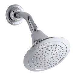 Kohler - Forte 2.5 GPM Single Function Wall-Mount Showerhead - Polished Chrome - This Forté single-function showerhead brings innovation to your bathroom with Katalyst, a cutting-edge technology that intensifies the flow of water for a completely indulgent showering experience. With a new nozzle pattern, internal waterway design, and air-induction system, this technology maximizes every water drop and creates a richer, more intense flow of water that heightens the shower's sensory experience. By infusing two liters of air per minute, Katalyst delivers a powerful, voluptuous spray that clings to the body with larger, fuller water drops.