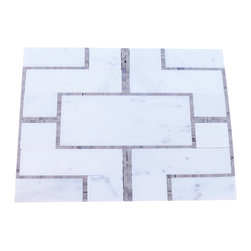 Cul De Sac Athens Gray and Asian Statuary Tile - Create the luxurious bathroom of your dreams with this mosaic marble tile. The pattern works beautifully with styles ranging from traditional to contemporary, while the gray and white color scheme blends easily with most decors.