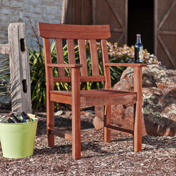 Upton Home - Upton Home Landry Hardwood Outdoor Arm Chair - The weather resistant Upton Home Landry hardwood outdoor arm chair is a perfect way to complete your patio and provide use through the years. The contemporary design and beautiful hardwood finish provide for universal appeal.