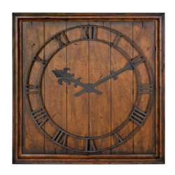 Garrison Reclaimed Look Wall Clock - 31.5W in. - The Garrison Reclaimed Look Wall Clock - 31.5W in. has an antique rustic appearance that makes it look as though it's been cut from an old farmhouse's hardwood floor. Its wood veneer is distressed with a rich honey pecan finish that's heavily burnished to provide the aged look. Rustic bronze hands and numbers have gold highlights completing this wall clock's beautiful antiqued charm.About Uttermost:The mission of the Uttermost Company is simple: to make great home accessories at reasonable prices. This has been their objective since founding their family-owned business over 30 years ago. Uttermost manufactures mirrors art metal wall art lamps accessories clocks and lighting fixtures in its Rocky Mount Virginia factories. They provide quality furnishings throughout the world from their state-of-the-art distribution center located on the West Coast of the United States.