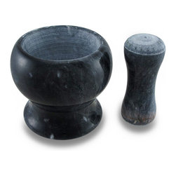 Zeckos - Black Marble Mortar and Pestle 2 Piece Set - Whether your an alchemist, a magician in the kitchen or like to prepare homeopathic medicines, this black marble mortar and pestle set will have you grinding away your ingredients with pleasure It's wonderful as a display piece, too, at 4.25 inches high and 5 inches in diameter (11 X 13 cm) with a 4.5 inch long, 1.75 inch diameter (11x4 cm) pestle. Pulverize plants, grind spices into powder or prepare your guacamole or pesto sauce ingredients in the 2.25 inch deep, 3.25 inch diameter (6x8 cm) interior. It's wonderful as a housewarming gift, and a must-have addition to your own unique kitchen accessory collection