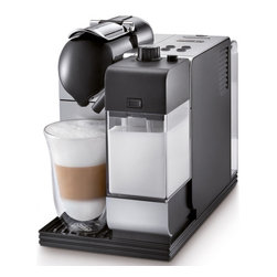 Delonghi - Lattissima Capsule Espresso/Cappuccino Machine - The DeLonghi EN520 Nespresso Lattissima Capsule Espresso/Cappuccino Machine allows you to choose your favorite drink (cappuccino, latte macchiato, espresso-coffee, long coffee or hot milk) in a simple intuitive way with illuminated controls. No more mess or measuring with this easy-to-use coffee capsule system. Simply load the capsule into the machine and push the button. Nespresso's patented extraction system facilitates the ideal flow of water through the ground coffee and the capsules are automatically ejected into a holding tank after the brew is completed. The patented IFD system includes a milk container for cappuccino or latte macchiato. The amounts of frothed/steamed milk and coffee are adjustable. It also includes a unique automatic cleaning function with the easy push of a button. The entire container is detachable, so it can easily be placed in the refrigerator. A convenient welcome kit with Nespresso capsules is included so you can enjoy delicious drinks immediately. Features: -Easy-to-use coffee capsule system - simply load the capsule into the machine and push the button.-Capsules are automatically ejected into a holding tank after the brew is completed (holds up to 10 at a time).-Illuminated control panel buttons allow you to choose your favorite drink.-Drinks may be personalized and memorized by varying the quantity of milk and coffee.-Removable 30-ounce water reservoir, detachable 12-ounce milk carafe, and sliding drip tray to accommodate coffee cups and latte glasses.-Nespresso's patented extraction system facilitates the ideal flow of water through the ground coffee.-Thermoblock heating system reduces heating time - ready in only 40 seconds.-Patented single-touch hot milk system easily prepares latte or cappuccino and clean-up is easy with the unique push-button automatic cleaning function.-Energy saving with adjustable auto-off timer.-19 bars pressure.-1200-watts.-Welcome kit with Nespre