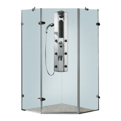 Vigo - Vigo 38 x 38 Frameless Neo-Angle 3/8in.  Clear/Chrome Shower Enclosure - Both dramatic and space-saving, the Vigo frameless neo-angle shower enclosure creates a beautiful focal point for your bathroom.