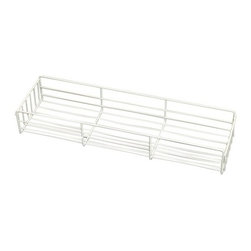 "Knape & Vogt Mfg. Co. - Pantry Basket - White - 4"" - Pantry baskets hang from either side of the pantry roll-outs or pantry base rollouts. You must allow 1 1/2"" for the frame when determining the basket width you can use. Baskets come white or chrome. Measure the narrowest opening of the cabinet taking into consideration the projection of the hinges. 3 1/4""H and 21 1/2""DIntended to be used with either the White Pantry Rollout or the Chrome Pantry Rollout"