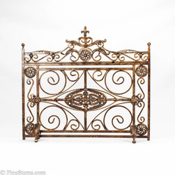 Antique gold iron fireplace screen - Add a unique look to your fireplace with this handcrafted, antique gold iron fireplace screen.