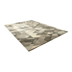 Cyan Design - Cyan Design Facets 7.6' x 5' Sage Green Contemporary Rug X-74060 - A modern faceted design is paired with neutral colors for a classic appearance in this Cyan Design rug. From the Facets Collection, this contemporary rug features rows of triangular facets done in varied shades of sage green. The diamond-inspired pattern is paired with polyester for durability.