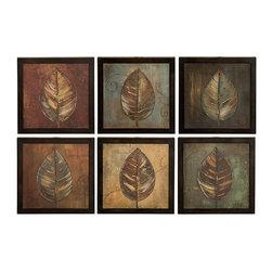 Uttermost - Uttermost New Leaf Framed Panel Set/6 - 50890 - Uttermost New Leaf Framed Panel Set/6 - 50890