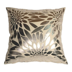 Pillow Decor Ltd. - Pillow Decor - Metallic Floral Cream Square Throw Pillow - Made from a durable, high quality fabric, this is the perfect throw pillow for any room in need of some colorful punctuation. The base fabric is a soft microfiber, while the floral shapes are a smooth reflective silver. *Pillow dimensions always refer to the pillow cover's width and length while lying flat unstuffed and are rounded up to the nearest whole inch.
