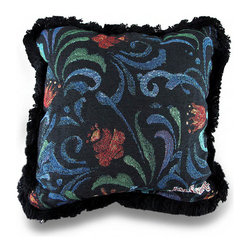 Zeckos - Jim Shore Midnight Bloom Decorative Black Tapestry Throw Pillow 12 in. - Designed by artist Jim Shore, this decorative black tapestry throw pillow will add a splash of color to any room with its vibrant floral design in red, green and blue. The cover is made from 55% polyester, 44% cotton with a 100% cotton backing. It features black fringe trim around the edges adding a bit of fun, and would look amazing in any room whether on the sofa, resting in your favorite chair, or finishing off your bedding ensemble. It's filled with 100% polyester, measures 12.5 inches long by 12.5 inches long (32 x 32 cm) and is recommended to spot clean only. This pillow would make a wonderful gift for collectors of Jim Shore artwork, or a lovely addition just for yourself!