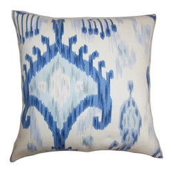The Pillow Collection - Talisha Blue 18 x 18 Patterned Throw Pillow - - Pillows have hidden zippers for easy removal and cleaning  - Reversible pillow with same fabric on both sides  - Comes standard with a 5/95 feather blend pillow insert  - All four sides have a clean knife-edge finish  - Pillow insert is 19 x 19 to ensure a tight and generous fit  - Cover and insert made in the USA  - Spot clean and Dry cleaning recommended  - Fill Material: 5/95 down feather blend The Pillow Collection - P18-ROB-KHANDAR-INDIGO-C100