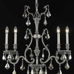 Elegant Lighting - Elegant Lighting 9604D26PW-GT/RC Monarch 4 Light Chandeliers in Pewter - 9604 Monarch Collection Hanging Fixture L26in W6in H29in Lt:4 Pewter Finish (Swarovski Strass/Elements Golden Teak Crystals)