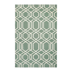 "Frontgate - Geometric Lattice Outdoor Rug - Hand-hooked of 100% fiber-enhanced Courtron polypropylene. Resists water, mold and mildew. Approximate pile height is .25"". Easy-to-clean. Pet friendly. Designed with today's busy households in mind, the Geometric Lattice Outdoor Rug is made of the finest 100% fiber-enhanced Courtron polypropylene. Featuring a unique hand-hooked construction, this beautifully detailed area rug also has the distinctive aesthetic of an artisan-crafted product. Treated to prevent the growth of mold and mildew, this multi-purpose area rug is water-resistant and can be used in a multitude of spaces, including covered outdoor patios, porches, mudrooms, kitchens and entryways. This rug will retain its rich splendor and stand the test of time despite the wear and tear of heavy foot traffic, humidity conditions and other elements.  .  .  .  .  . Suitable for indoor or outdoor use . Add a rug pad for increased drainage and softness underfoot, and to hold rug in place . Available in Navy and Sea Mist ."