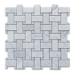"Stone Center Corp - Carrara Marble Basketweave Mosaic Tile White Dots 1x2 Honed - Carrara White Marble 1x2"" rectangle pieces and Carrara White 3/8"" dots mounted on 12""x12"" sturdy mesh tile sheet."