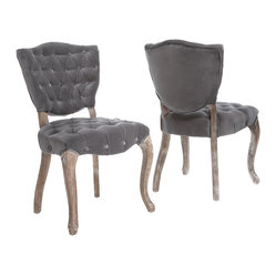Great Deal Furniture - Violetta French Design Dining Chair, Set of 2 - Oh la la! Add some French flair to your room with these luxurious velvet dining chairs. You'll love the old-world charm of the intricately carved legs, plush gray velvet and solid, weathered oak finish.  Elegance and comfort, what more could you want?