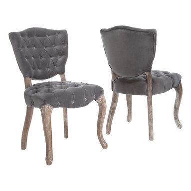 Great Deal Furniture - Violetta French Design Dining Chair (Set of 2) - Oh la la! Add some French flair to your room with these luxurious velvet dining chairs. You'll love the old-world charm of the intricately carved legs, plush gray velvet and solid, weathered oak finish.  Elegance and comfort, what more could you want?