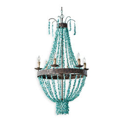 Pensacola Coastal Beach Beaded Turquoise Metal Chandelier - A rustic take on a lighting classic, this is a swag chandelier with a twist -strung with turquoise beads over a rough textured iron base. Perfect for lodge, Spanish Revival and vintage inspired places, the cool stone and warm light of 8 bulbs will most certainly be a conversation starter.