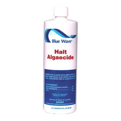 Blue Wave - Blue Wave Halt 50 Algaecide 1 Qt - 4 Pack - Halt; 50 algaecide algae worst enemy! Rely on concentrated halt; 50 algaecide to kill and prevent all types of algae. A single quart of this super concentrated swimming pool algaecide treats up to 240,000 gallons-a great value! plus, this non-metalli,c low-foaming formula will not stain or discolor hair. Swim immediately after treatment. Great for all pool types. Maintenance dosage: 1-1/3 oz. Per 10,000 gallons. Buy 4 quarts and save!